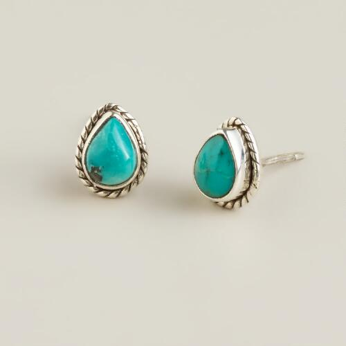 Sterling Silver Turquoise Teardrop Stud Earrings