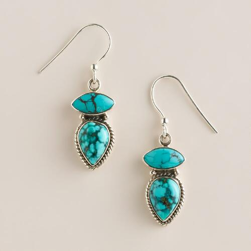 Sterling Silver Turquoise Double Teardrop Earrings