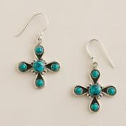 Sterling Silver Turquoise 5 Stationary Stones Drop Earrings