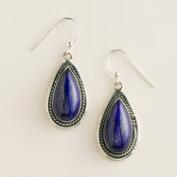 Sterling Silver Lapis Oval Drop Earrings