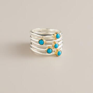 Sterling Silver and Turquoise Stackable Rings, Set of 6