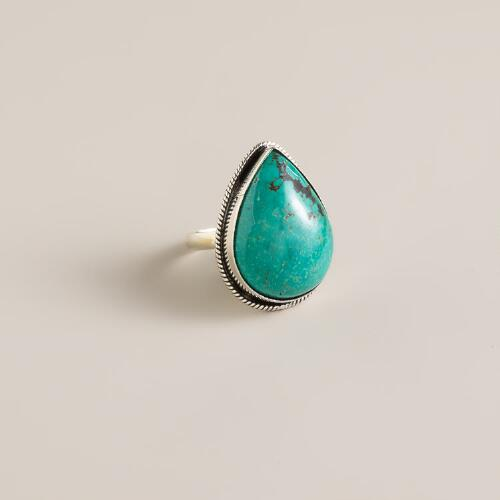 Sterling Silver Turquoise Teardrop Ring