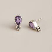 Sterling Silver Amethyst Teardrop Stud Earrings