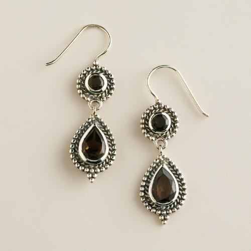 Sterling Silver Smokey Topaz Double Drop Earrings