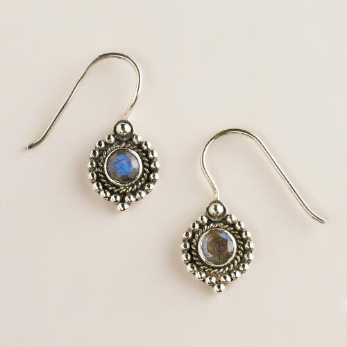 Sterling Silver Labradorite Circle Drop Earrings