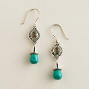 Sterling Silver Topaz and Turquoise Drop Earrings