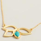 Sterling Silver and Turquoise Lotus Necklace
