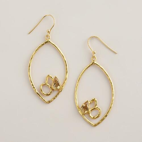 Sterling Silver Gold Lotus Teardrop Earrings