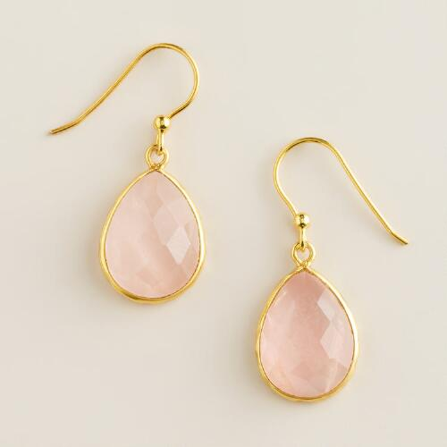 Sterling Silver Gold and Rose Quartz Drop Earrings