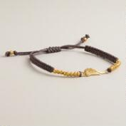 Sterling Silver Gold and Brown Wings Friendship Bracelet