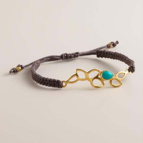 Sterling Silver Gold Lotus Friendship Bracelet