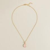 Sterling Silver Gold and Rose Quartz Pendant Necklace