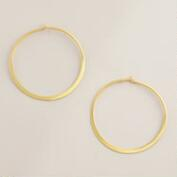Sterling Silver Matte Gold Hoop Earrings