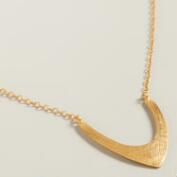 Sterling Silver Round Gold Chevron Pendant Necklace