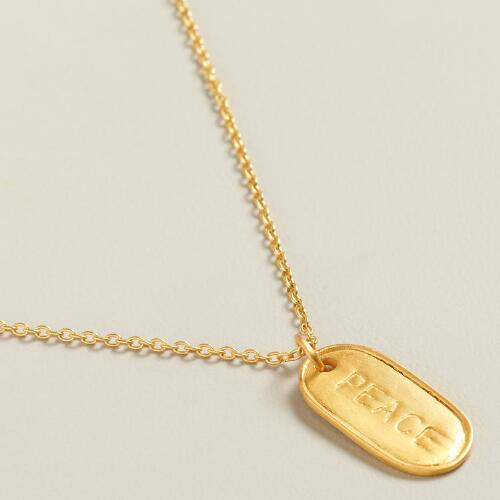 Sterling Silver Gold Peace Pendant Necklace