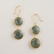 Sterling Silver Round Labradorite Double Drop Earrings