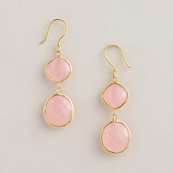 Sterling Silver and Rose Quartz Double Drop Earrings