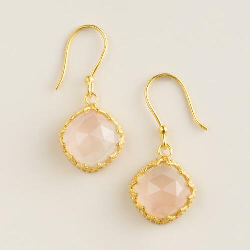 Sterling Silver and Gold Rose Quartz Drop Earrings