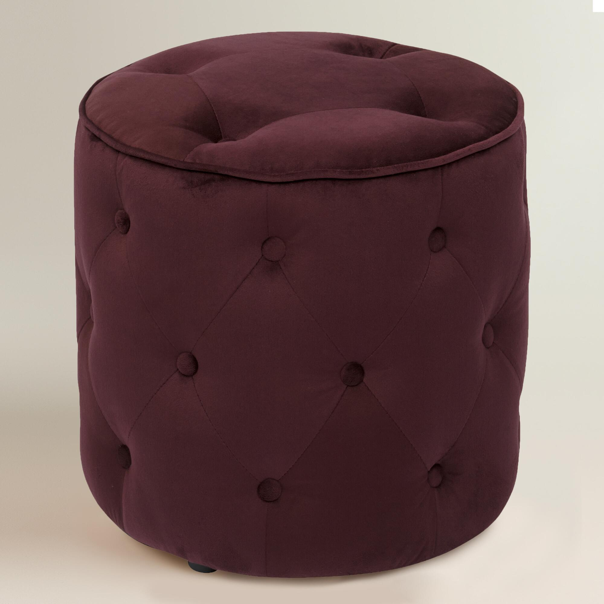 Cost plus world market port tufted velvet ottoman purple for Where to put ottoman