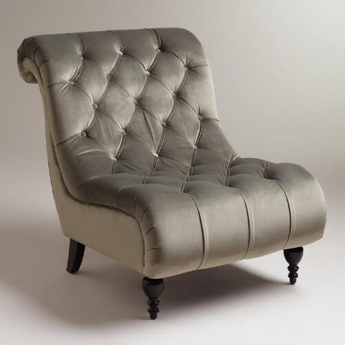 Pewter Tufted Velvet Devon Slipper Chair