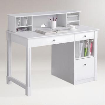 White Wood Clara Desk with Hutch