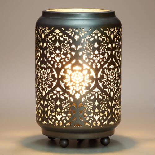 Baroque Cylinder Punched Metal Accent Lamp