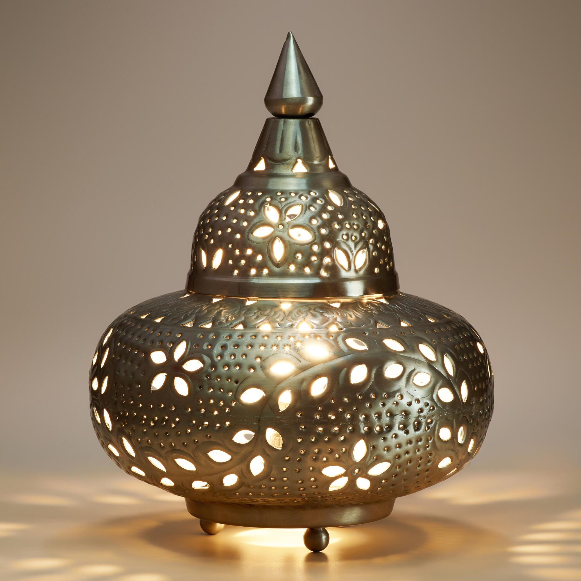 Small moroccan punched metal lamp world market for Orientalische metall lampen