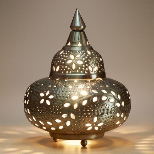 Small Moroccan Punched Metal Lamp