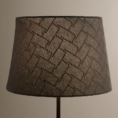 Gray Geo Stitch Accent Lamp Shade