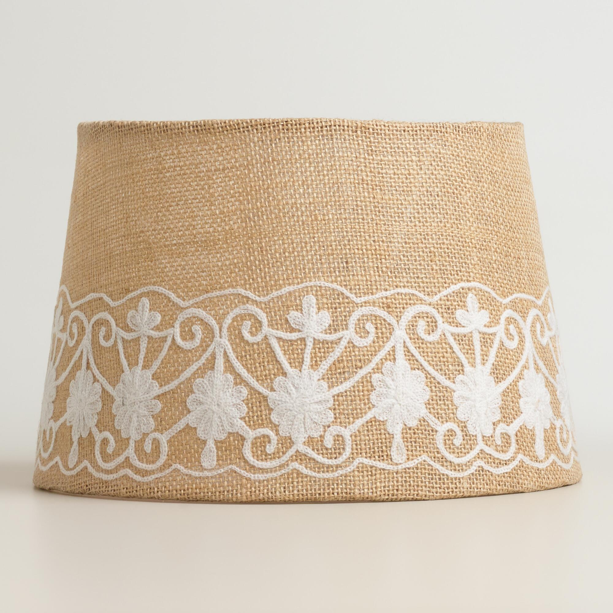 Burlap Lamp Shades : Floral embroidered burlap accent lamp shade world market