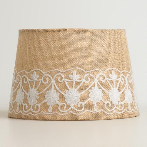 Floral Embroidered Burlap Accent Lamp Shade