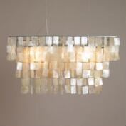 Rectangular Natural Capiz Hanging Pendant Lantern