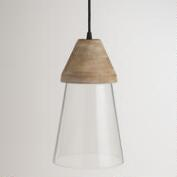 Wood Top Glass Hanging Pendant Lamp