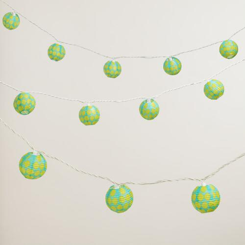 Aqua and Green Dots Paper String Lights
