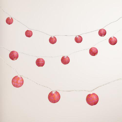 Fuchsia and Orange 10-Bulb Paper String Lights