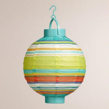Thailand Stripe Battery-Operated Paper Lanterns, Set of 4