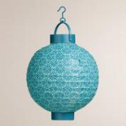Blue Geo Battery-Operated Paper Lanterns, Set of 4