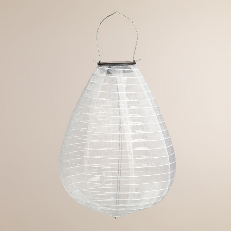 White Teardrop Solar Powered LED Lantern   World Market