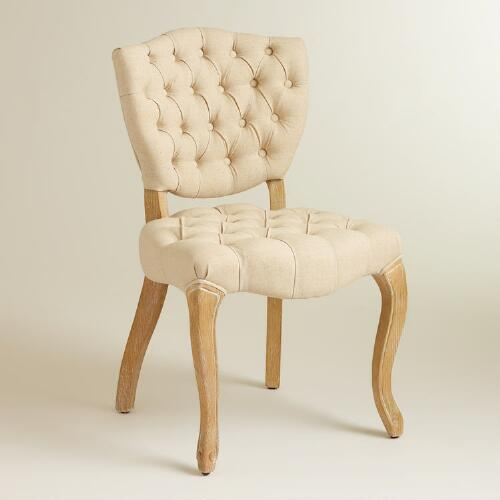 Linen Emma Tufted Chairs, Set of 2