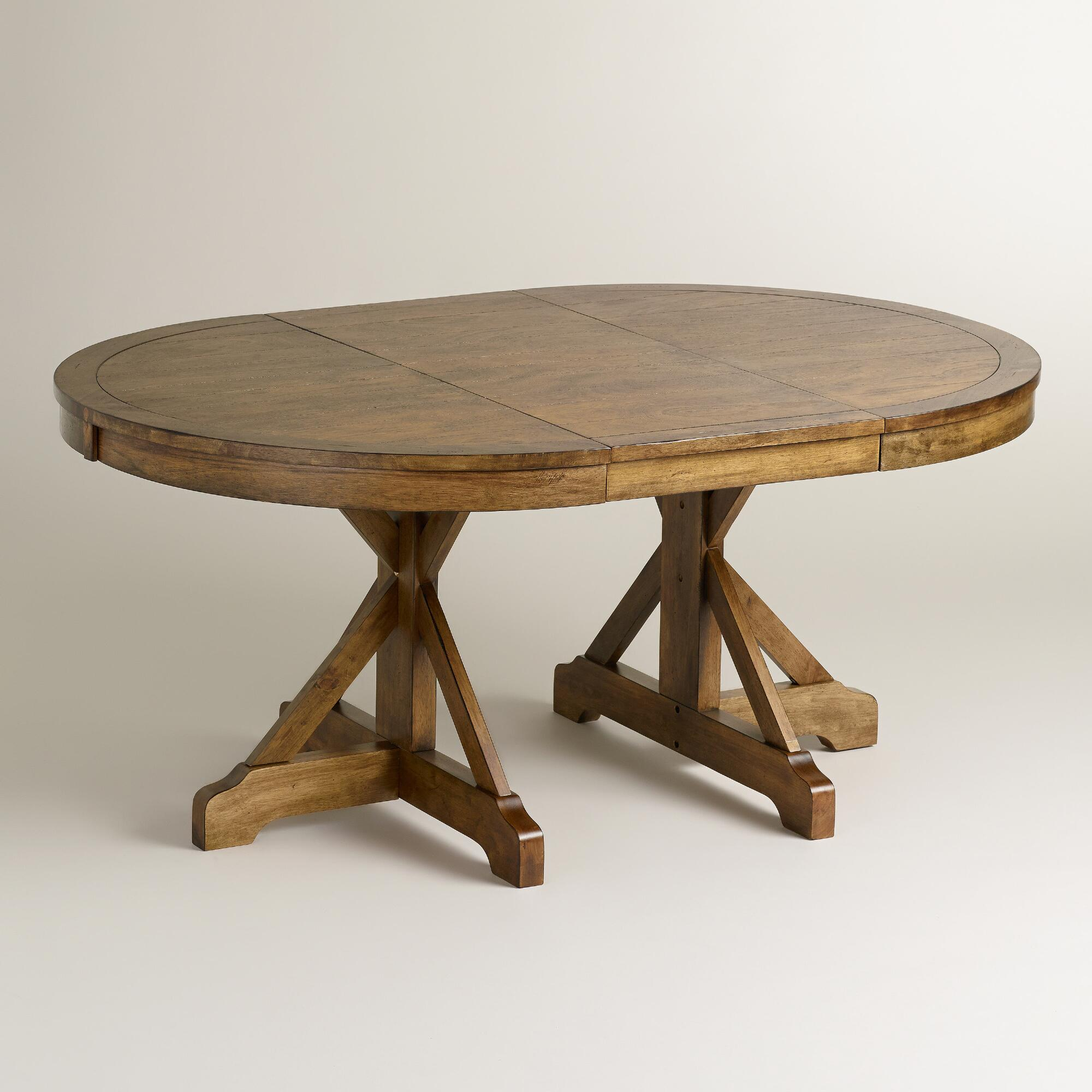 Round to oval x base extension table world market for Oval dining table
