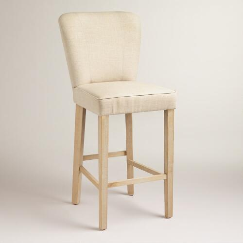 Linen Barrel Barstools, Set of 2