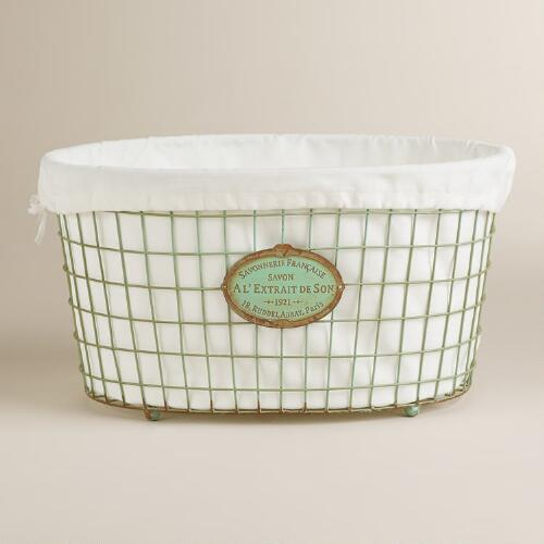 Mint Green Marcie Wire Laundry Basket