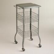 Zinc Lauren Basket Rolling Cart