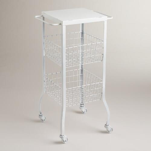 White Lauren Basket Rolling Cart
