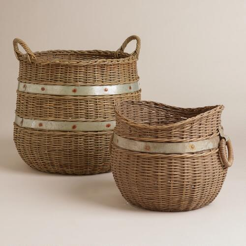 Calley Rattan and Metal Baskets