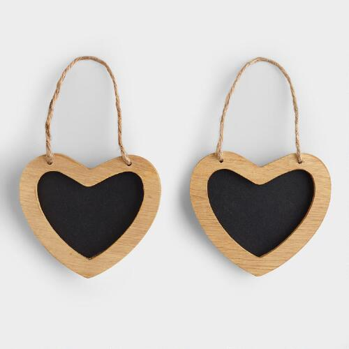 Mini Heart Chalkboards, Set of 2