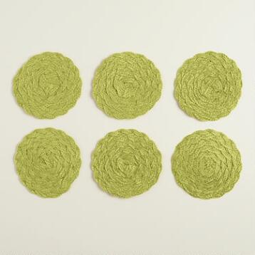 Green Poly-Braided Coasters, Set of 6