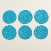 Teal Poly-Braided Coasters, Set of 6
