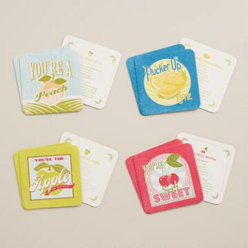 Fruit Drink Recipe Coasters, Set of 12