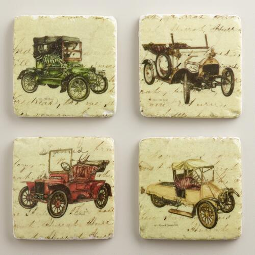 Vintage Car Coasters, Set of 4